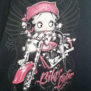 Betty Boop Womens Motorcycle Biker Babe Hoodie 2XL